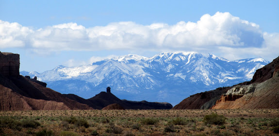 View of the Henry Mountains through Wild Horse Canyon