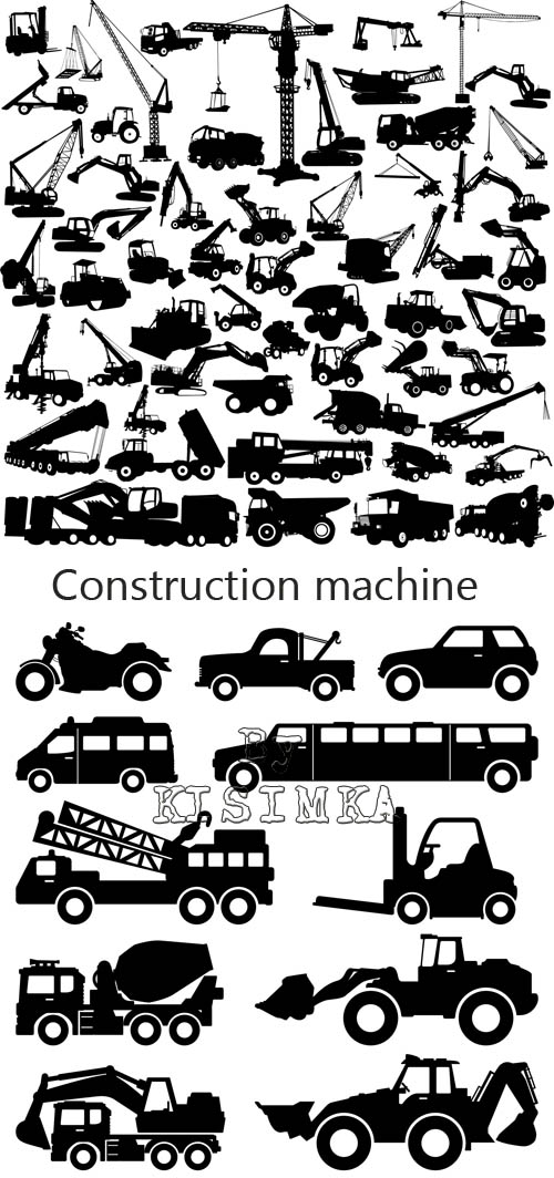 Stock: Construction machine big collection vector
