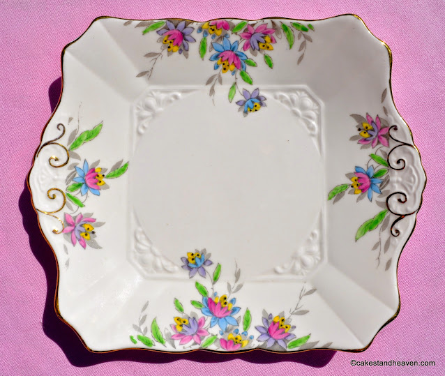 Art Deco hand painted pink bone china Tuscan cake plate