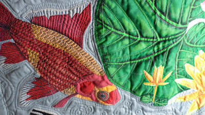 Pond life, Commet goldfish hand appliqué with lily leaf and pond lily bud