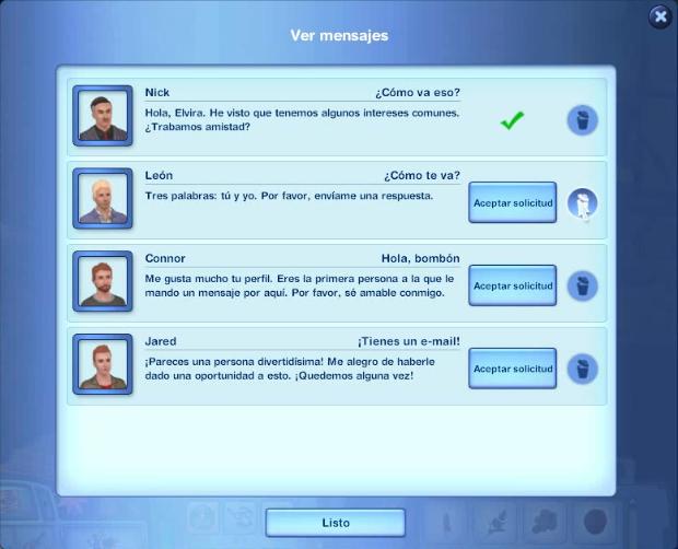 Más mensajes online sims