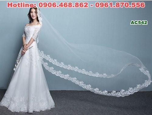 Váy cưới trễ vai dáng chữ A suông nhẹ AC542