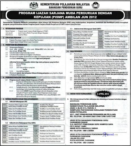 Permohonan Kplspm Maktab Perguruan Pismp 2012