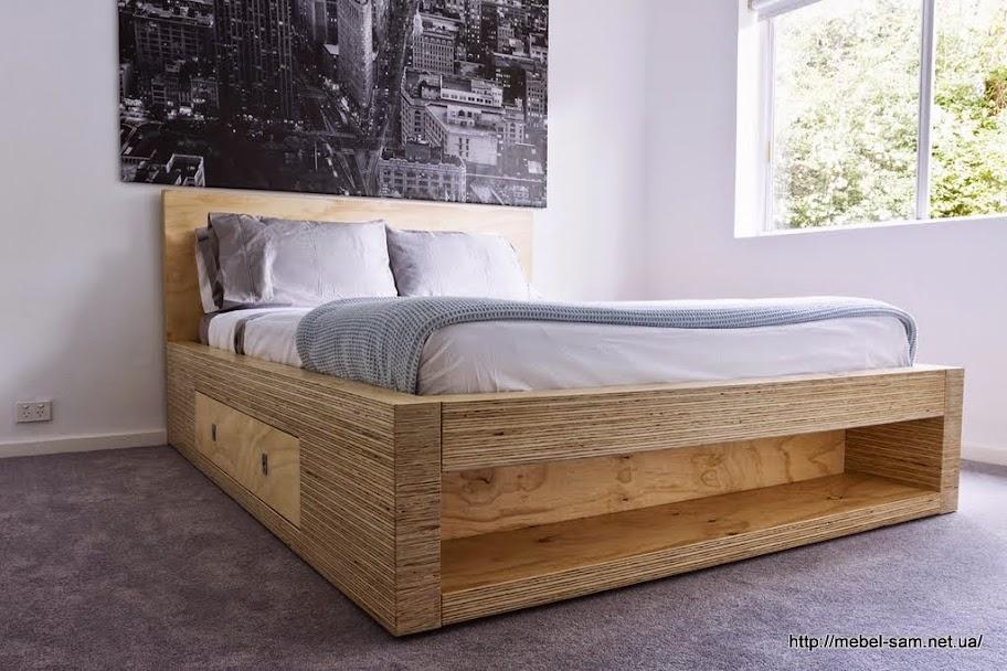 Фанерная двуспальная кровать