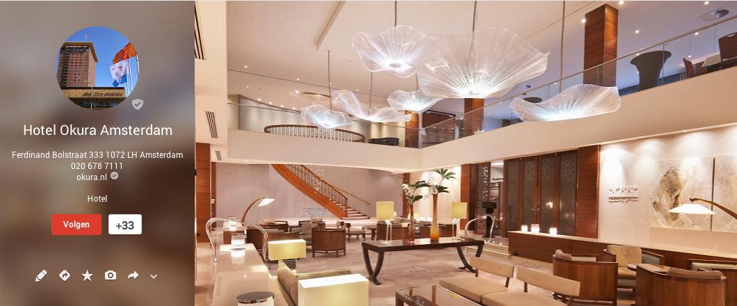 Google+ vermelding van het Okura Hotel in Amsterdam