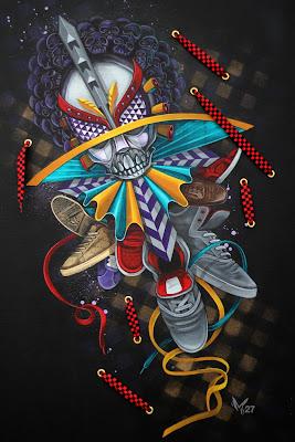 "Sneakers - Hasta La Muerte, Acrylic and enamel on canvas, 24"" x 36"", $3,000"