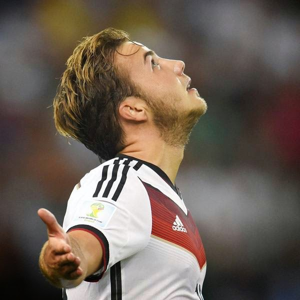 Germany's forward Mario Goetze celebrates after scoring a goal during the second half of extra-time during the 2014 FIFA World Cup final football match between Germany and Argentina at the Maracana Stadium in Rio de Janeiro, Brazil, on July 13, 2014.
