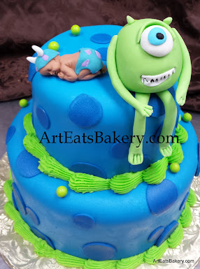 Monsters Baby Shower Custom Cake With Blue Fondant Polka Dots, Edible Baby  Topper And One Eyed Mike Character