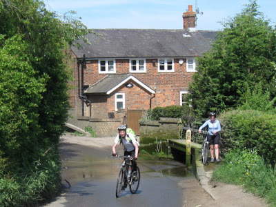Cyclists at a ford