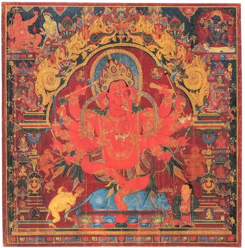 15ம் நூற்றாண்டை சார்ந்த திபெத்திய துணியிலான விநாயகர் ஓவியம்