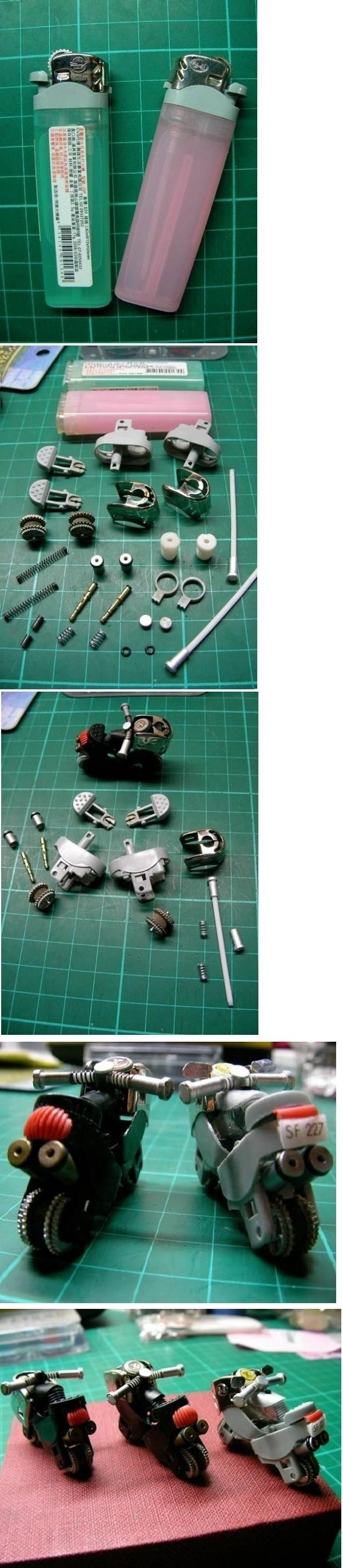 Miniature Bike Made From Lighter Parts