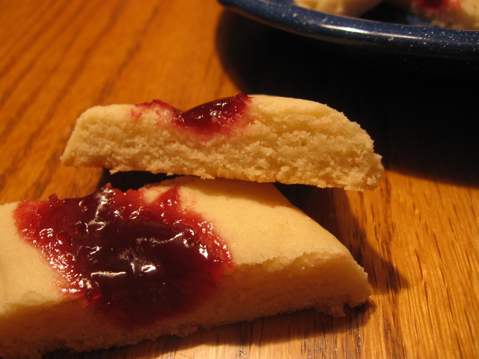... split second! They were also REALLY good. Shortbread cookies with jam