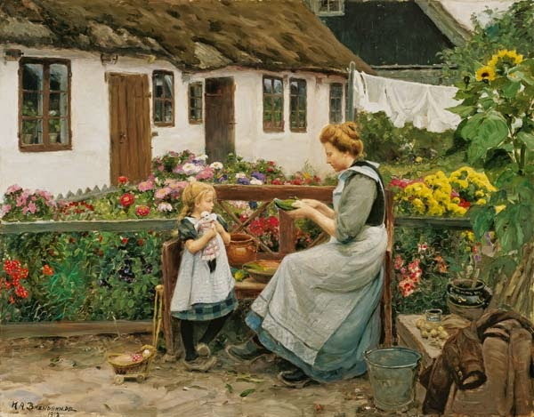 Hans Andersen Brendekilde - At the garden bank