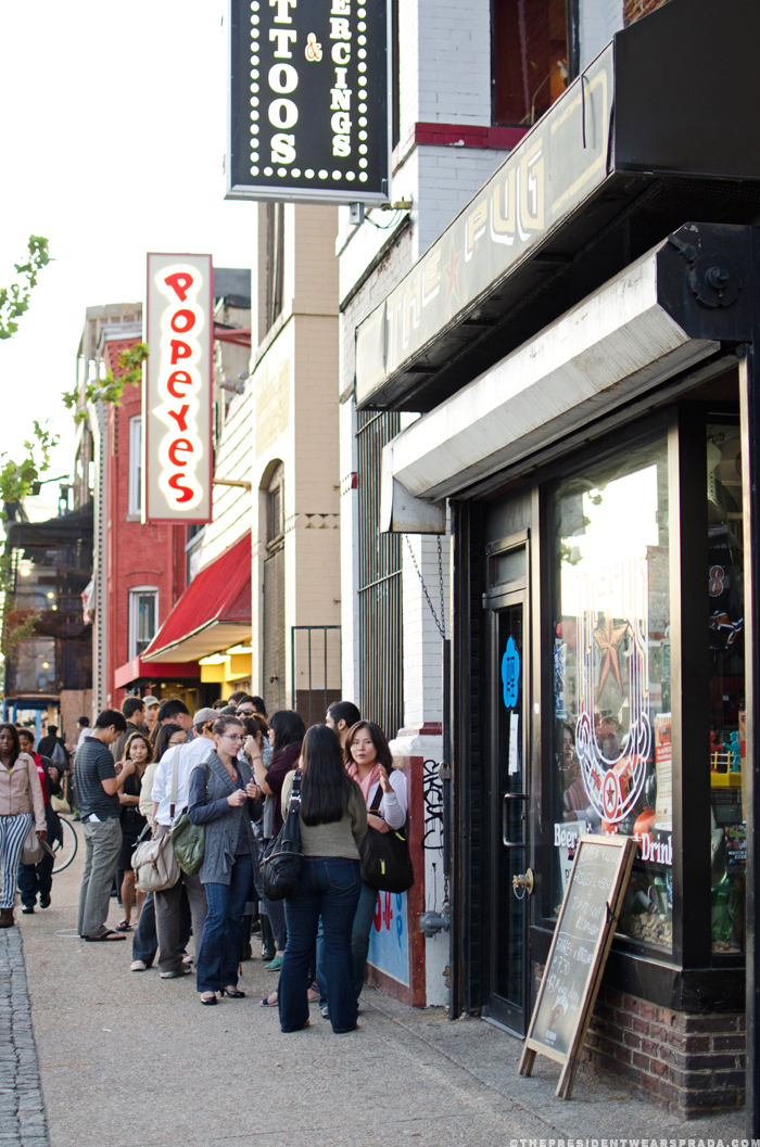 The line for the BaoHaus pop-up at Toki Underground