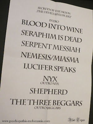Secrets of the Moon : set-list @ Jeugdhuis Comma, Bruges (Belgique) 30/09/2012