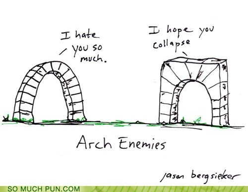 cartoon of two arches arguing...arch enemies