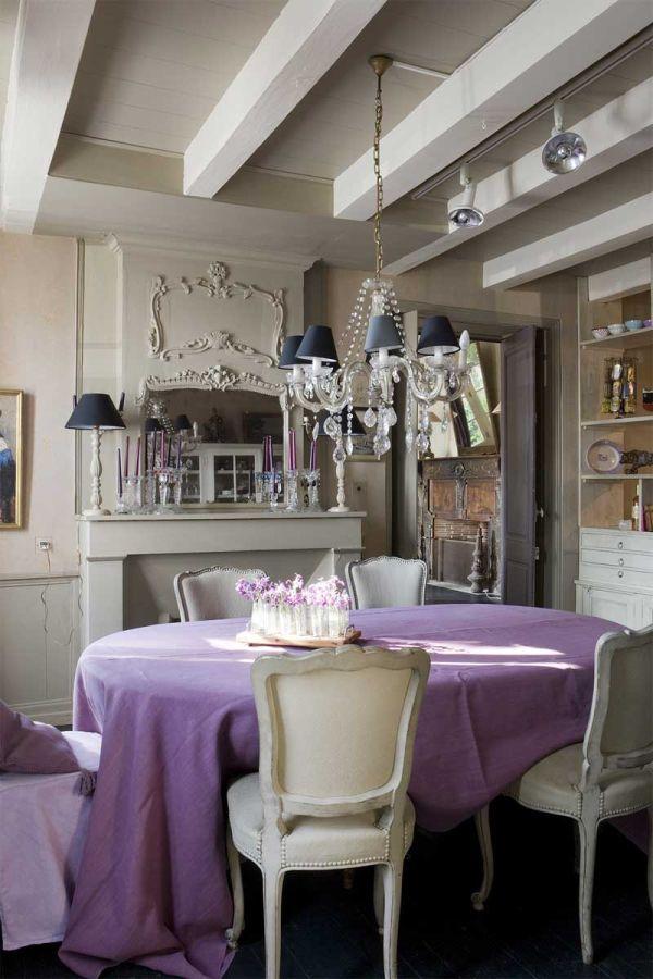 purple violet plum magenta blue color scheme dining room