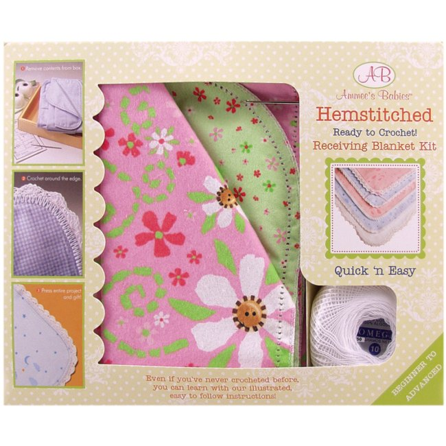 Crocheting Kit : Weekend Kits Blog: Hemstitched Baby Blanket Kits - Ready to Crochet!