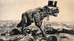 Fotomontage von John Heartfield: Hyäne, mit Zylinder, über einem Schlachtfeld.