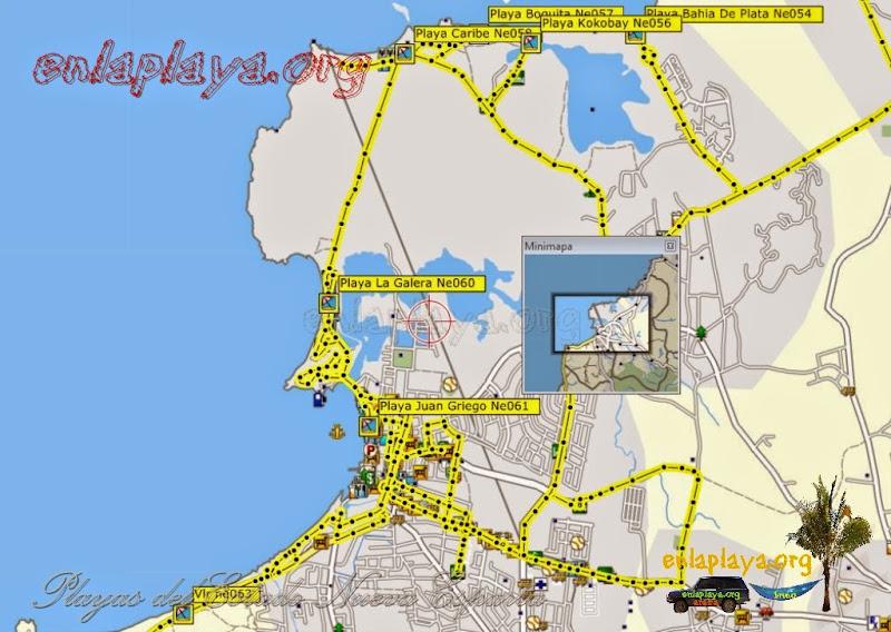 Mapa de Playas del sector Juan Griego