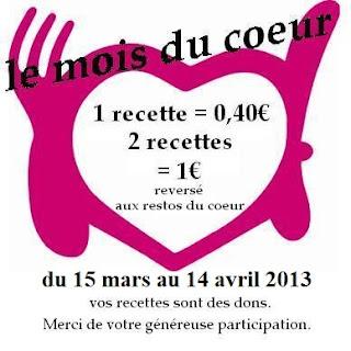 le mois du coeur sur la cuisine des delices, du 15 mars au 14 avril 2013