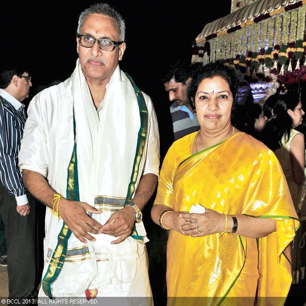 Union Minister D Purandeswari and MLA D Venkateswara Rao clicked during their son Hitesh Chenchuram's wedding with Sri Puja in Hyderabad.