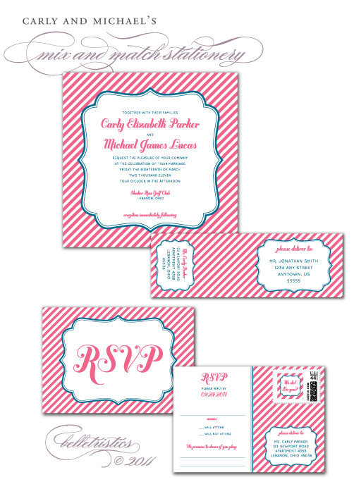 pink blue striped printable diy wedding invitation suite
