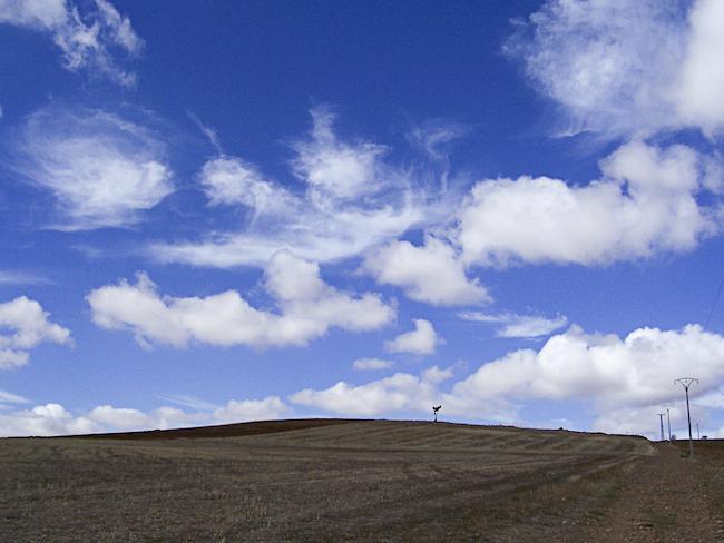un cielo azul con distintas formas de nubes blancas