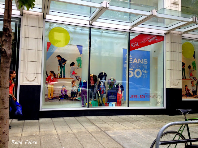 Back to School, storefront window on 5th Ave downtown Seattle, August 2012.
