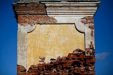 Vista parcial de los ladrillos expuestos de la chimenea.