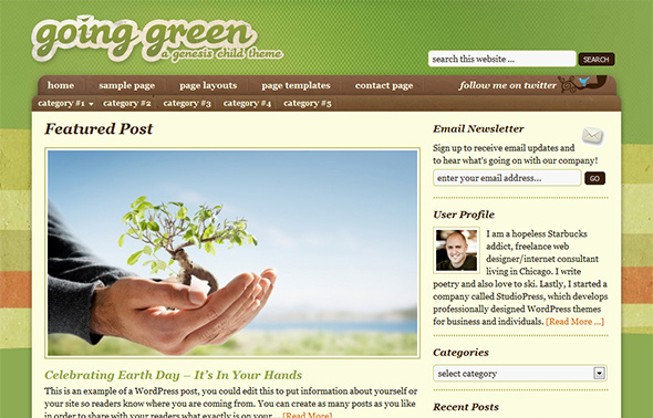 Going Green Vintage WordPress Theme