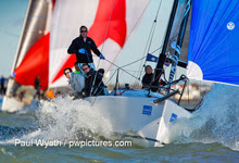 J/88 one-design offshore speedster sailing on Solent- Hamble winter series