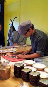 Nodoguro PDX September 2014, theme dinner Totoro. Chef Ryan Roadhouse slicing the Poached Octopus
