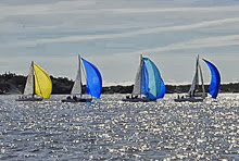 J/80 one-design sailboats- sailing off Sweden