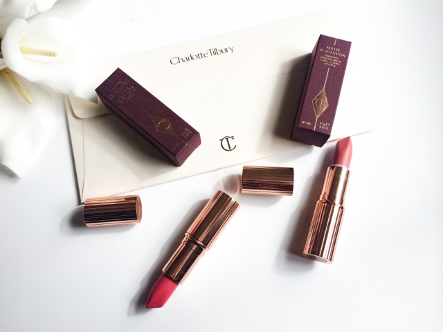 Charlotte Tilbury Matte Revolution lipsticks in sexy sienna and lost cherry. review and swatches.