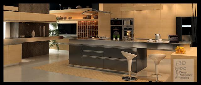 render interior cocina minimalista