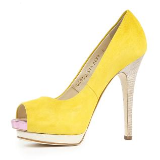 Giuseppe Zanotti | Giallo suede peep toe pump | Eve's Apple | Women's | Designer | Fashion | Clothing | Shoes | Handbags | Jewelry | Sale