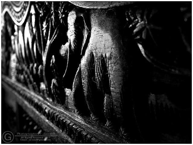 Photograph Wooden Elephant Black and White