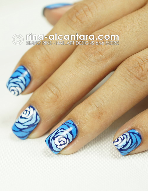 Blue Wave Nail Art Design - Left Side