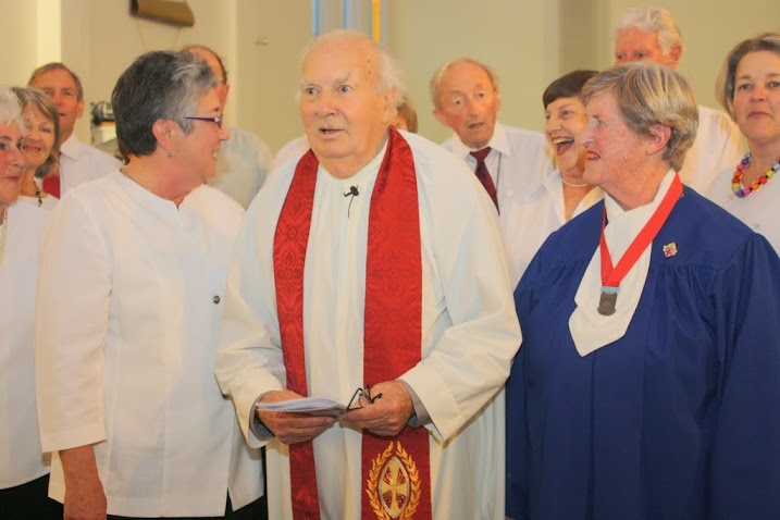 Hilda Payne, Ted Dashfield and Barbara Anderson with Evensong Choir