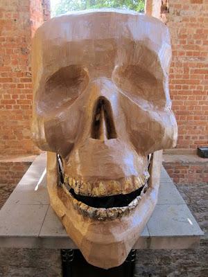 Skull sculpture at the Ruins Park in Rio de Janeiro Brazil