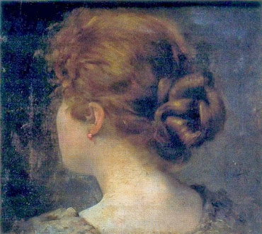 Cabeza de mujer vista de espaldas - I. Díaz Olano