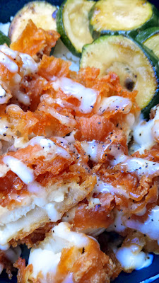 Phat Cart's dish of Crispy Chicken, a fried chicken breast, zucchini, with lime aioli and all served over rice in a bento bowl style