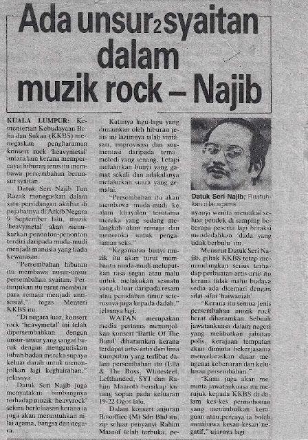 Ada Unsur Syaitan Dalam Muzik Rock Kata Najib?
