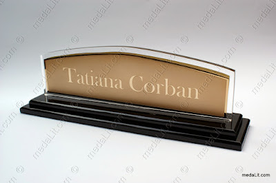 Gold-Plated highlighted Nameplate on acrylic support