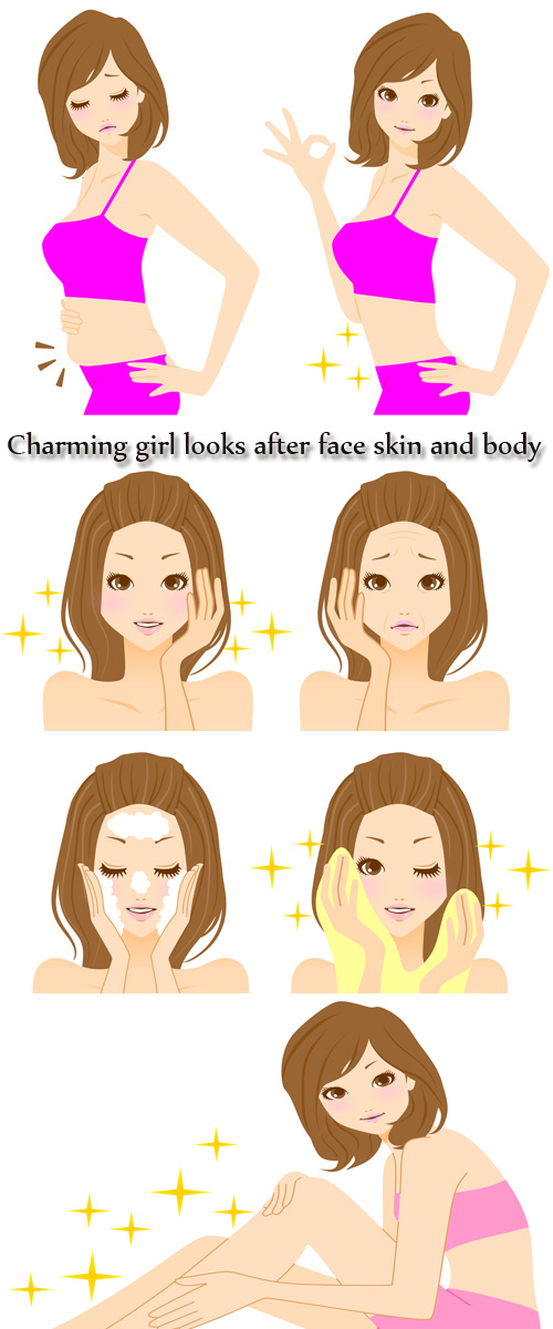 Stock Photo: Charming girl looks after face skin and body