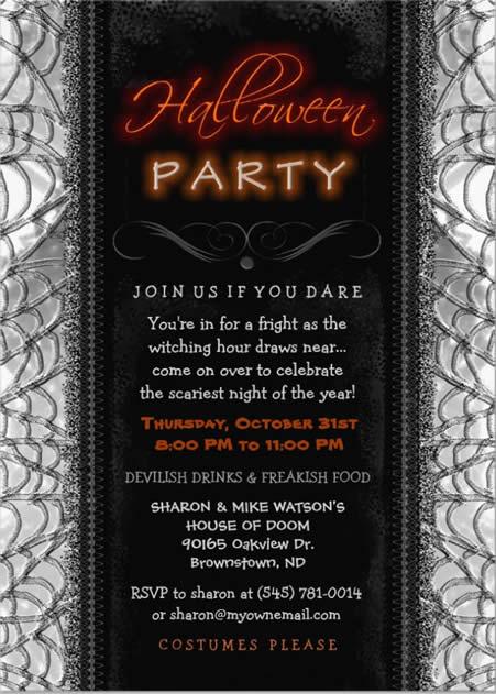 halloween invitation - black & white spider web halloween invitation
