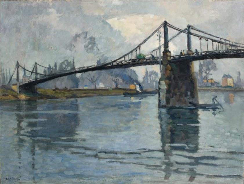 Robert Antoine Pinchon - Le pont des Andelys, le long de la Seine