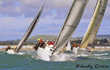 J/109 one-design sailboats- sailing off north Wales, United Kingdom
