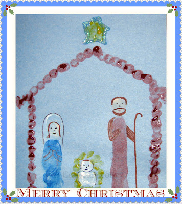 Thumbprint/Fingerprint Nativity Card for grandparents